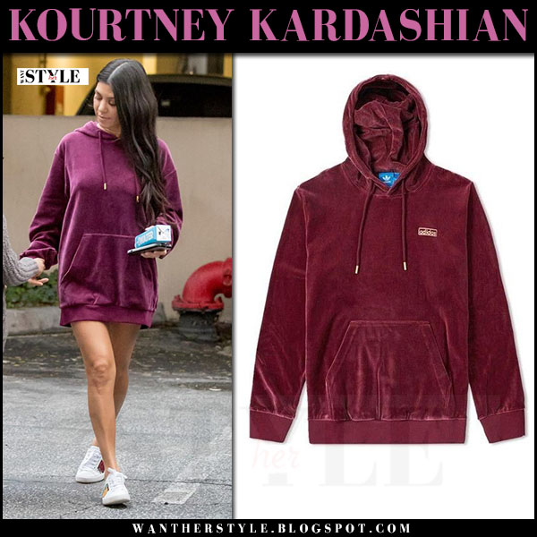 Kourtney Kardashian in burgundy adidas velour hoodie and white gucci ace sneakers what she wore 2017