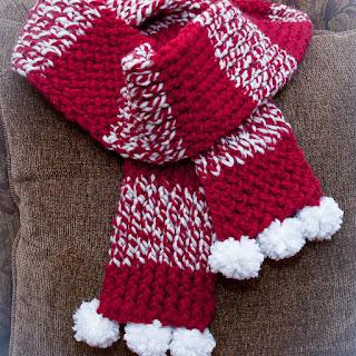 Christmas Pom-Pom Scarf Loom knit Pattern Free