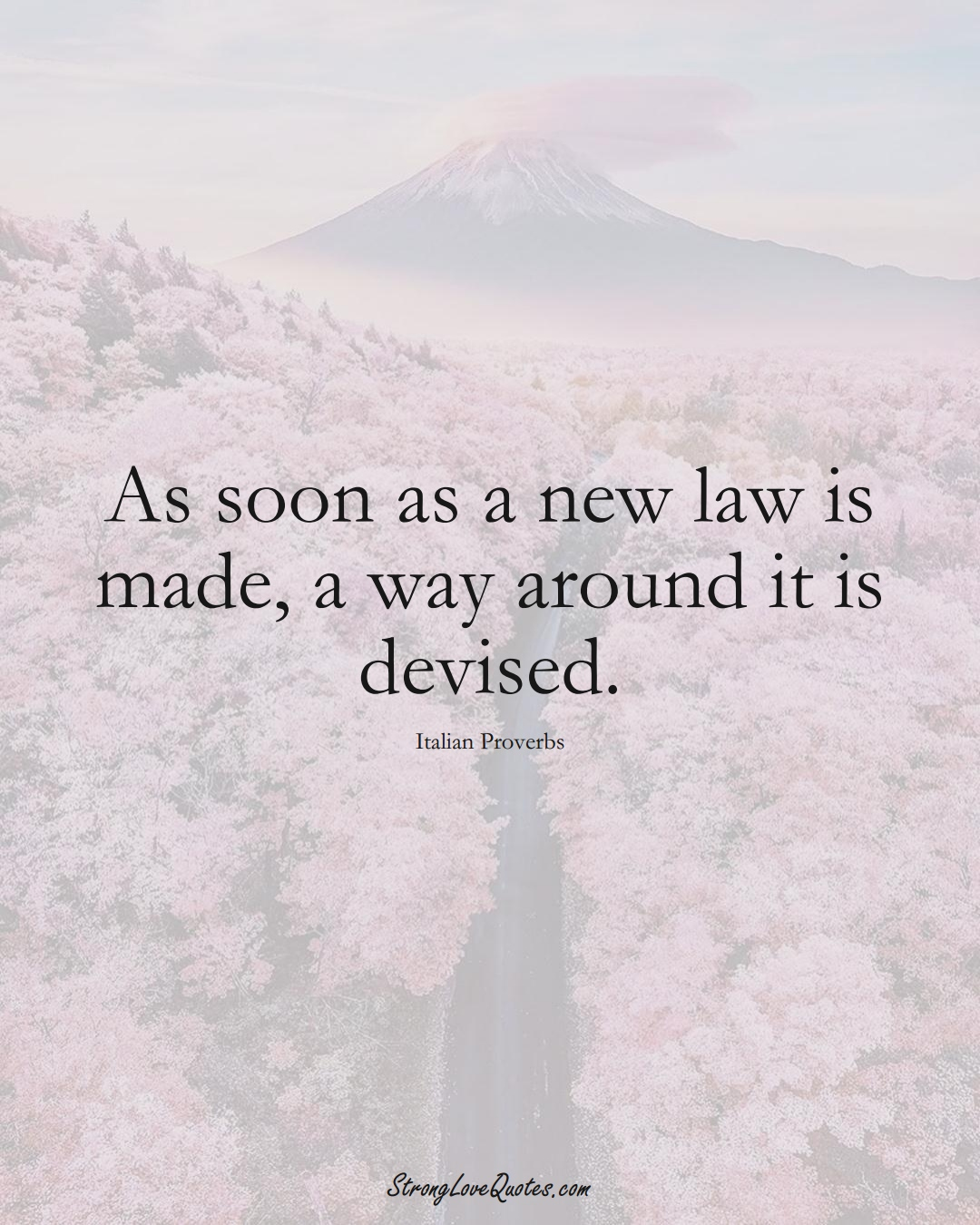 As soon as a new law is made, a way around it is devised. (Italian Sayings);  #EuropeanSayings