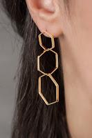 Triple hexagon extra long earrings in 14k yellow gold