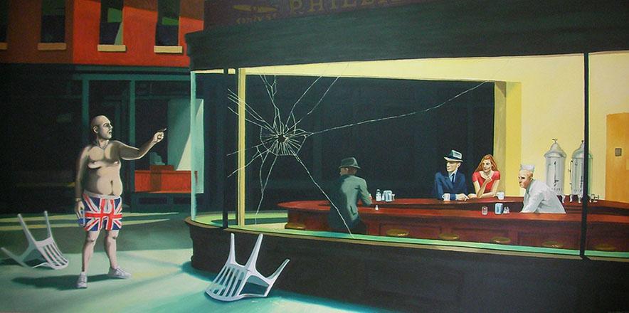 Nighthawks'nin Banksy uyarlaması