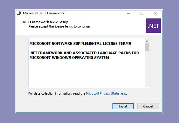 Pasang NET Framework