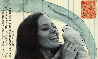 Dada Fluxus Library card postage stamp photo of woman with dove on shoulder