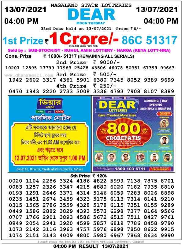 lottery sambad 13 7 2021 day 4pm