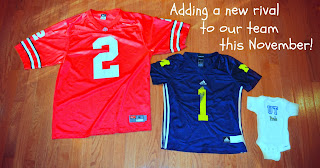 baby announcement picture team rivalry jersey