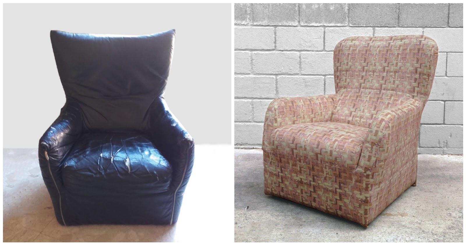 Antes y después - Un sillón negro retapizado con una tela de colores suaves efecto pincel