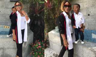 Tonto Dikeh and her son pictured in Matching Outfits