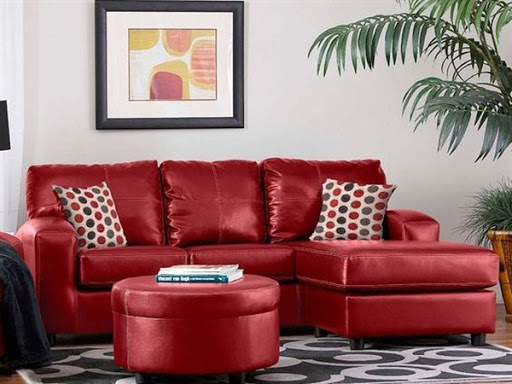 Red leather sofas and sectionals for small spaces