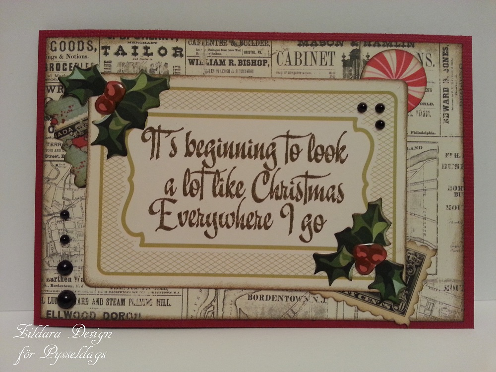 Pysseldags Julkort på engelska