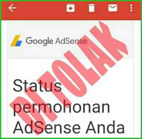 mendapat email penolakan google adsense
