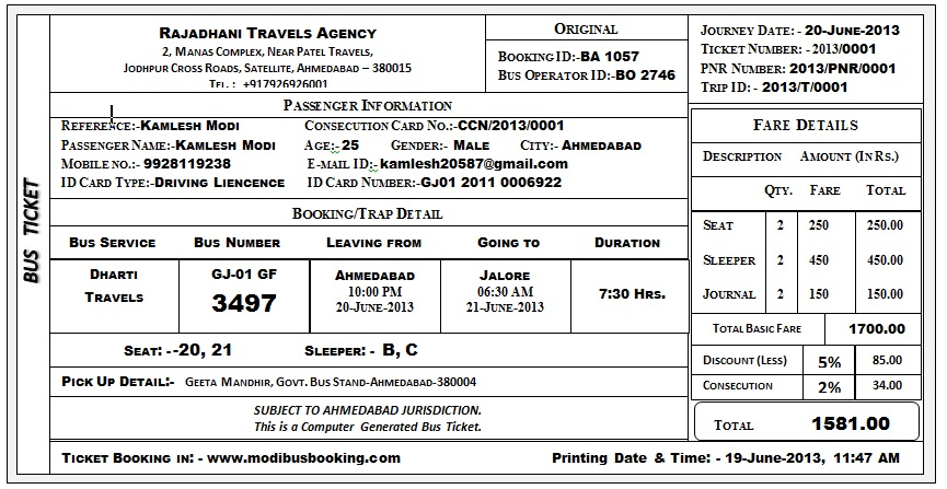 Electronic ticket and bus ticket reservation