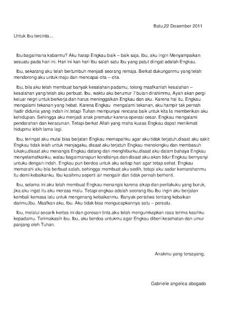 Contoh Surat Pribadi untuk Ibu (via: slideshare.net)