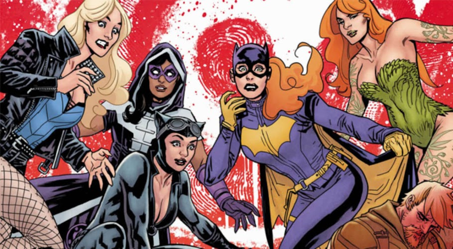 Black Canary, Huntress, Catwoman, Batgirl, and Poison Ivy are all shocked.