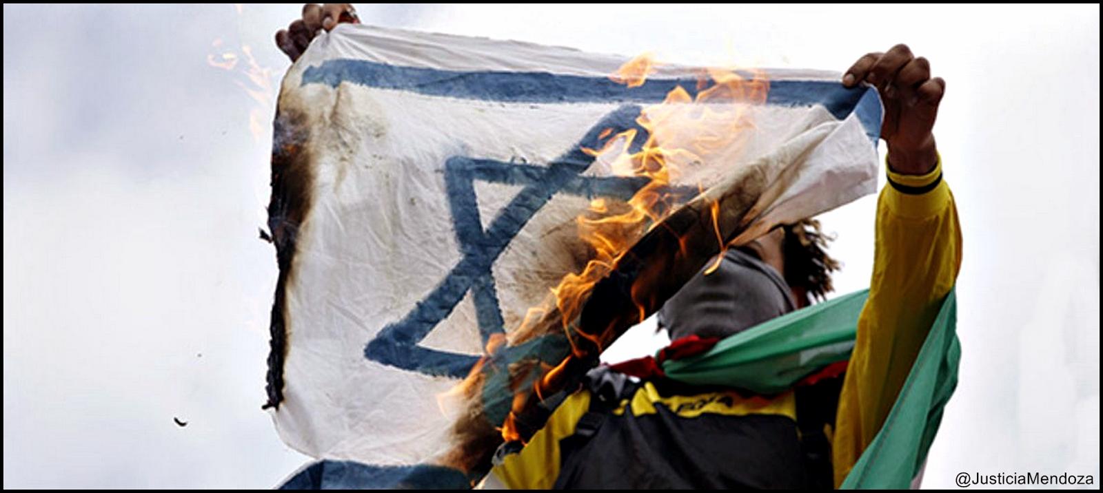 bandera israel quemada