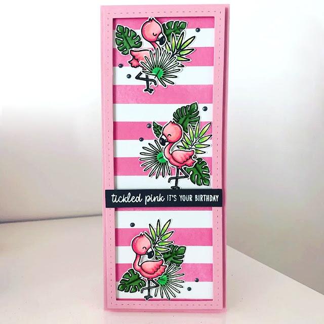 Sunny Studio Stamps: Fabulous Flamingos Customer Card by Jo Smith