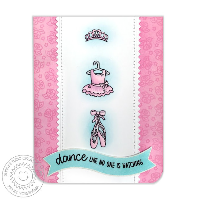 Sunny Studio Stamps: Tiny Dancers Ballet Slippers Ballerina Card by Mendi Yoshikawa