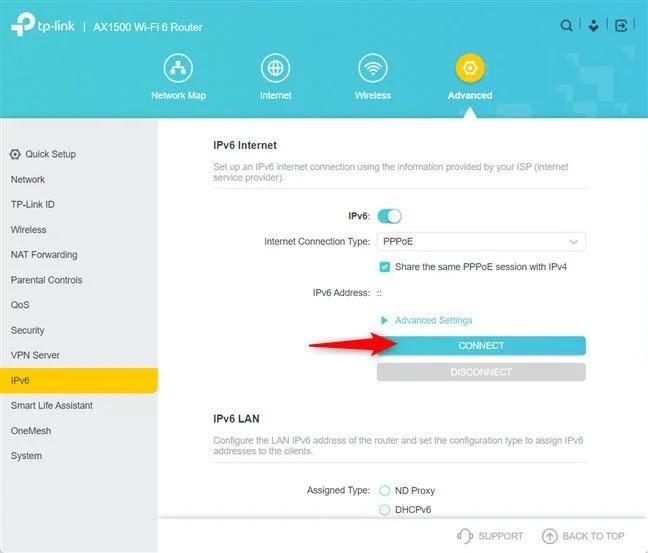 Nhấn Connect để sử dụng IPv6