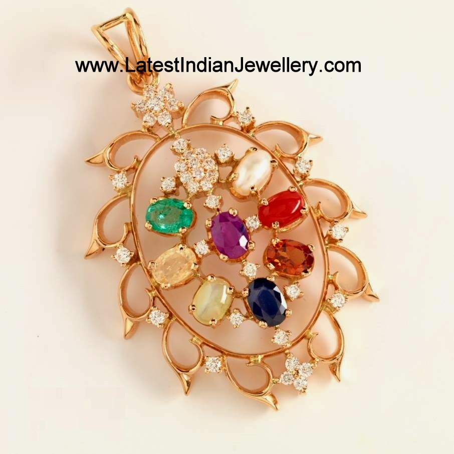 Navaratna pendant with diamonds