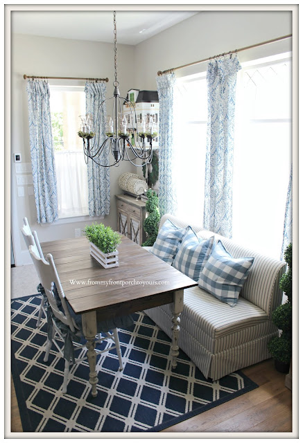 Breakfast Nook Makeover-Blue and White Decor-Buffalo Check-Ticking Stripe-Damask Curtains-From My Front Porch To Yours