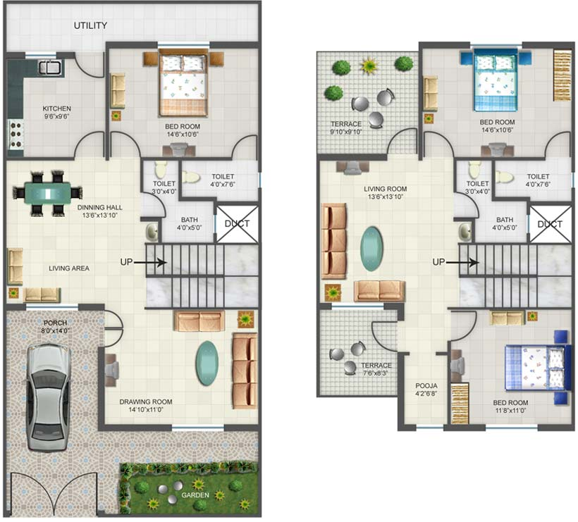 Foundation dezin decor 4 bhk layout for Four bhk bungalow plan