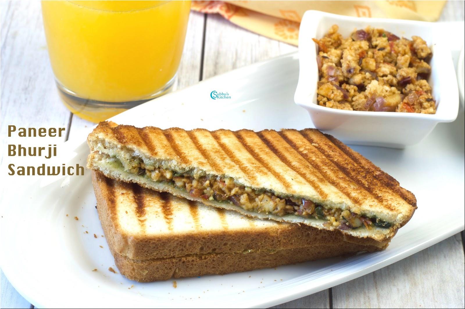 Paneer Bhurji Sandwich Recipe - Subbus Kitchen