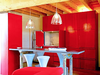 diseño de cocina rojo blanco