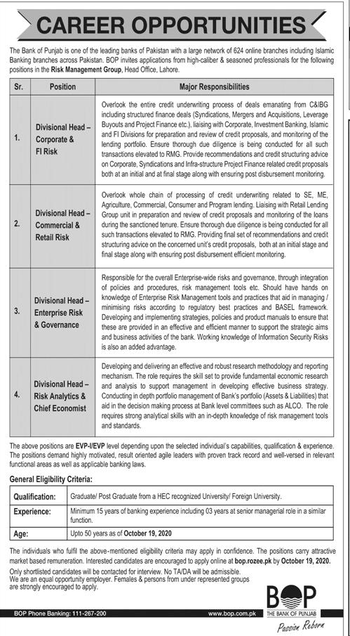 Bank of Punjab BOP Job Advertisement in Pakistan - Apply Online - www.bop.rozee.pk