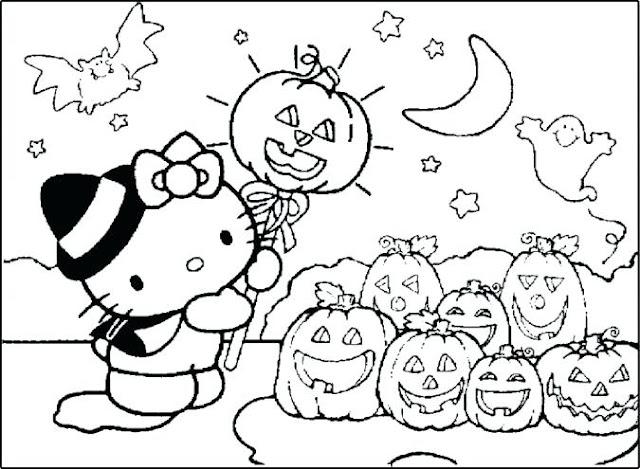 hello kitty dibujo halloween colorear