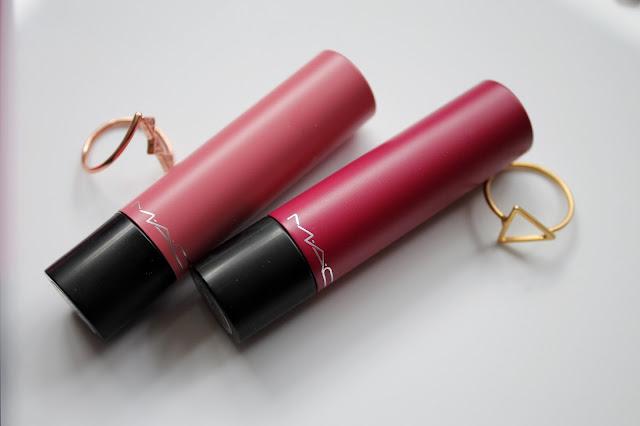 MAC Liptensity lipstick Claretcast and Medium Rare