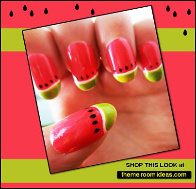 Watermelon Handpainted False Nails, Nail Art, Fruit Fake Nails