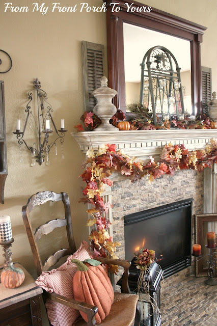 French Country Fall Mantel- Fall-Decor-From My Front Porch To Yours