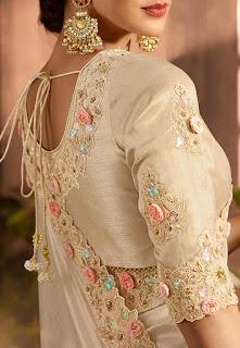 Embroidered Border Art Silk Saree in Light Beige front design