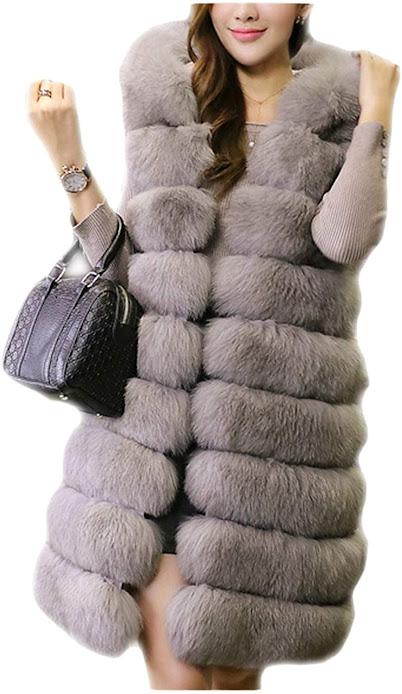 Women's Grey Faux Fur Vest Sleeveless Waistcoat Jacket