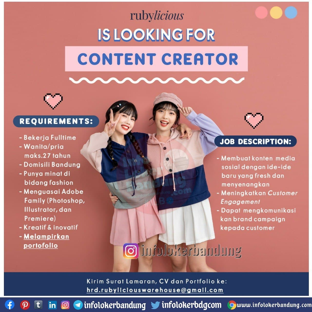 Lowongan Kerja Content Creator Rubylicious Bandung Desember 2020