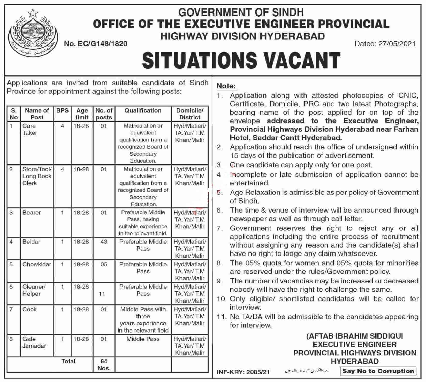 Provincial Highway Division Hyderabad Jobs 2021   64 Posts