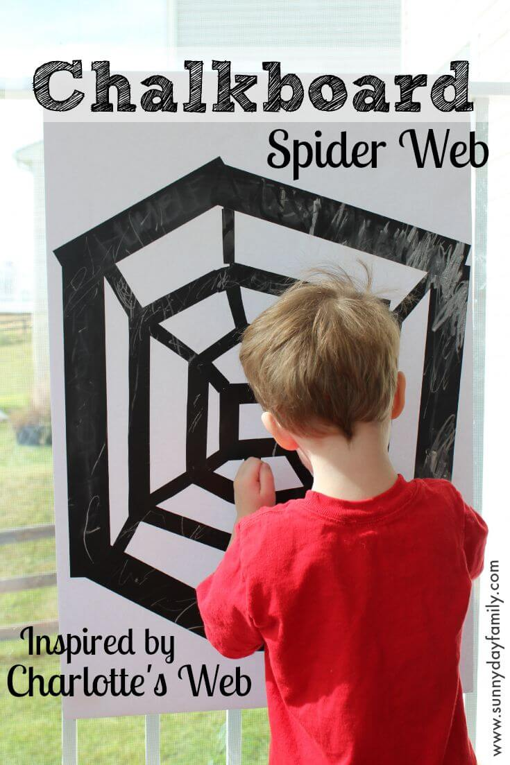 Write on your very own spider web just like Charlotte! This DIY chalkboard spider web is a fun learning activity that's perfect for Halloween too.