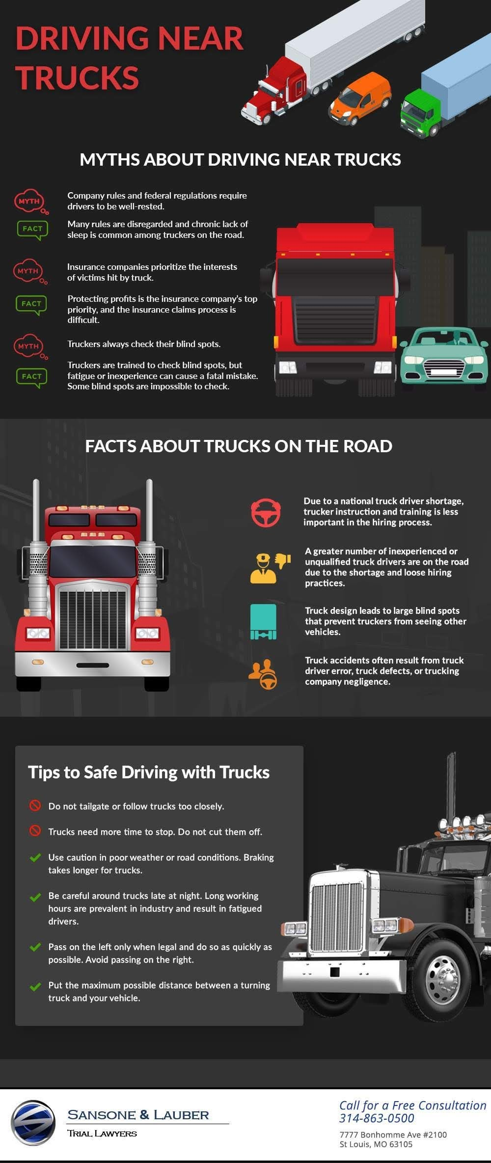 Myths About Driving Near Trucks #infographic