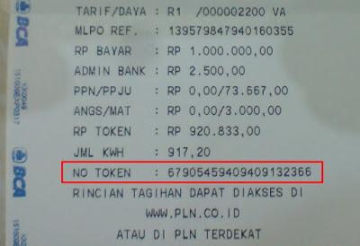 kode token listrik ATM
