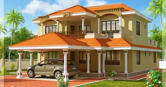 Indian 4 bedroom sloping roof home kerala home design for Sloped roof house plans in india