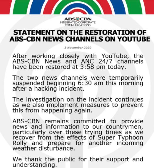 ABS-CBN News YouTube channels down