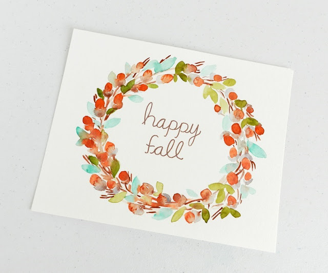 Watercolor HAPPY FALL wreath Painting by Elise Engh- Grow Creative Blog