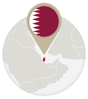 Qatari flag and map