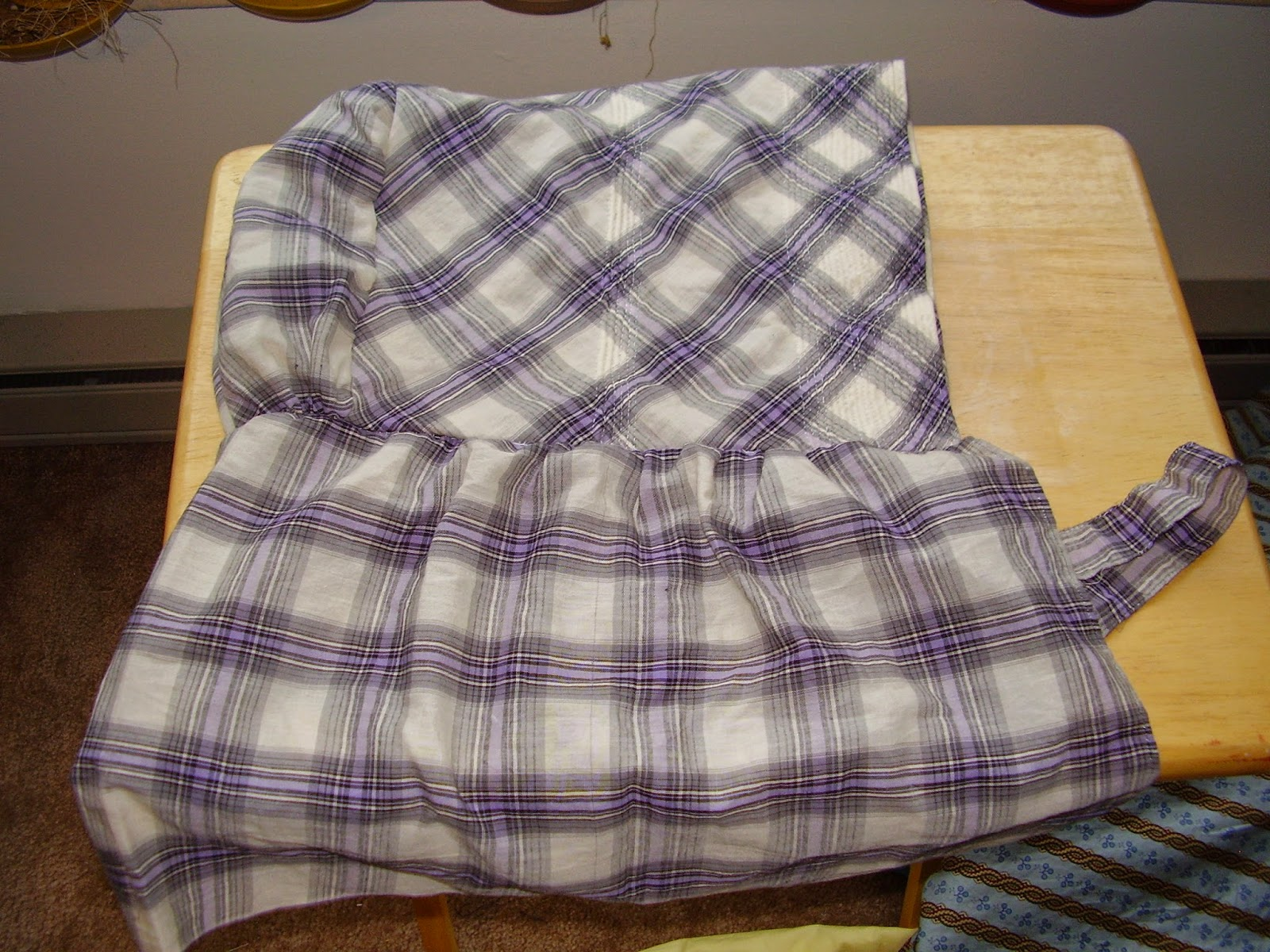 Completed plaid sunbonnet, for 19th century living history.