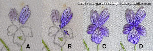 Society Silk Violets: demonstrating how to stitch a violet flower