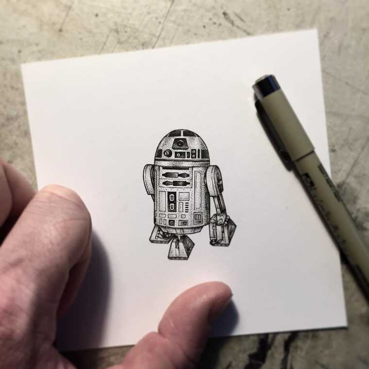 03-Star-Wars-R2D2-Paul-Jackson-Star-Wars-Miniature-Drawings-www-designstack-co