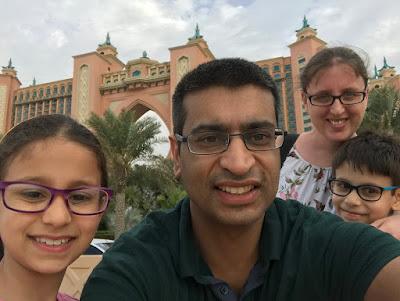 Family wearing glasses selfie