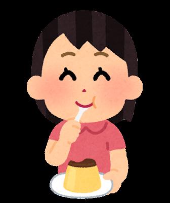 プリンを食べる子供のイラスト(女の子)