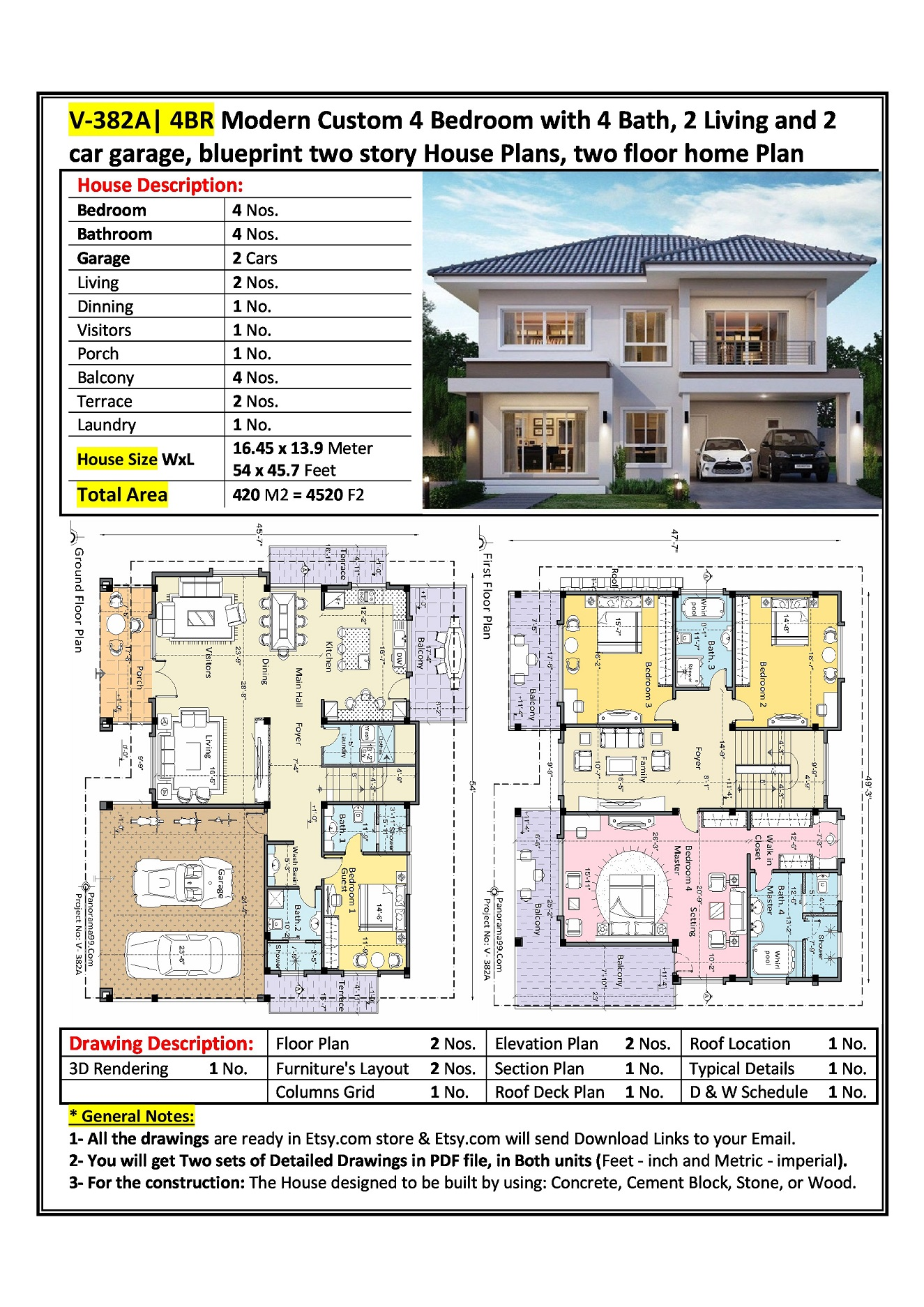 V 382a 4br Modern Custom 4 Bedroom With 4 Bath 2 Living And 2 Car Garage Blueprint Two Story House Plans Two Floor Home Plan