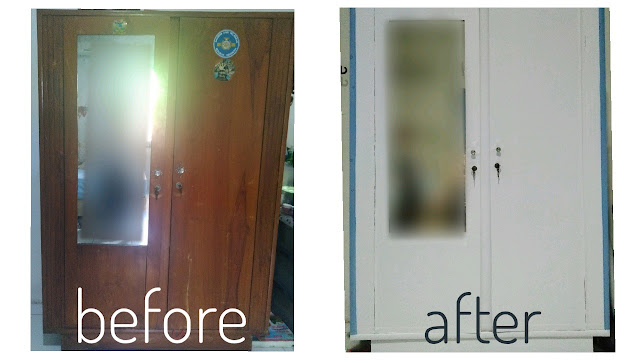 before after stiker lemari