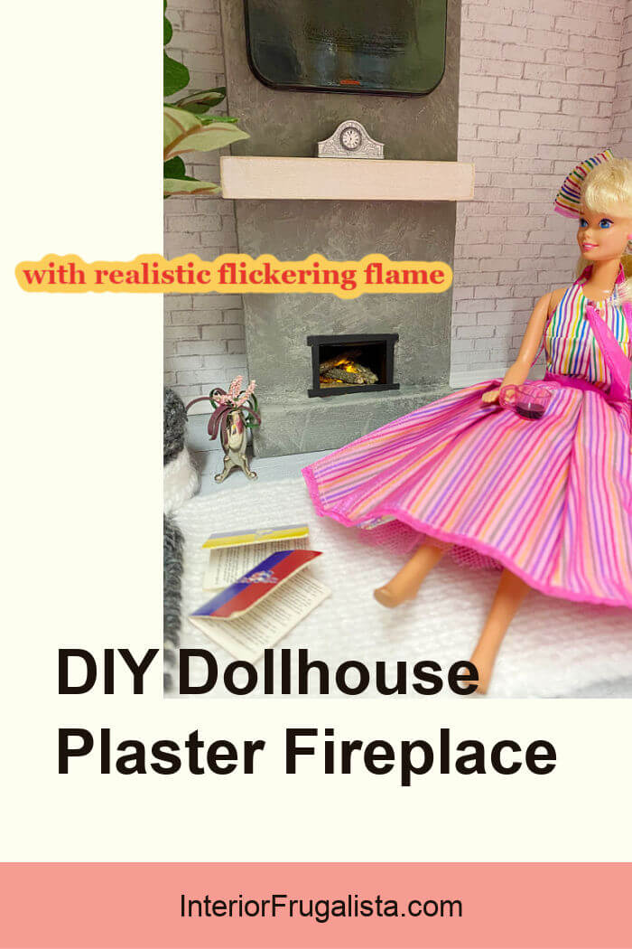 How to build a miniature dollhouse plaster fireplace with real logs and child-safe flickering flame, plus a DIY flat-screen television to hang above. #dollhousefireplacediy #dollhouseminiaturesdiy #dollhousefurniturediy